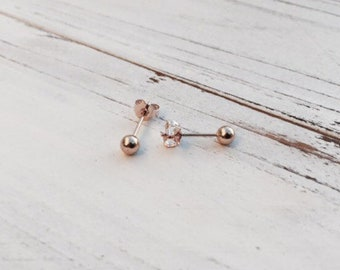Rose Gold Earrings | 2mm Rose Gold Stud Earrings, Rose Gold Studs, Small Stud Earrings, Stud Earrings, Rose Gold Plated, Nickel Free