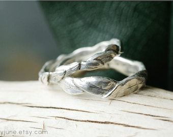 Silver Large Leaf Ring   Stacking Ring   Nature Inspired Ring
