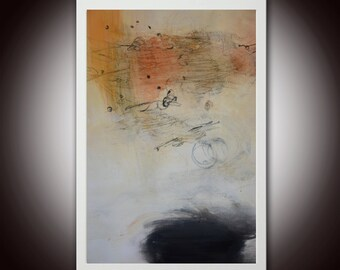 Small painting, Abstract Painting on paper, white black painting, original painting, original abstract painting on paper, white painting