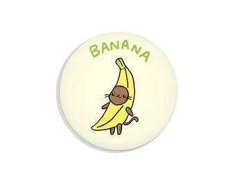 Cute Pin Badge Banana Cat Pinback Button Kawaii Cat Pin Back Button Fridge Magnet Pocket Mirror Bottle Opener