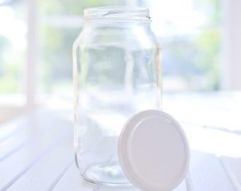 24 x 750ml large round glass jars - White / black / gold / silver metal lids - 16.6cm tall