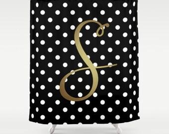 Monogrammed Shower Curtain, Black + White Polka Dot + Gold Monogram, Cute Bathroom Decor, Girls Shower Curtain Monogram, Black + White Decor