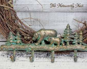 ANY COLOR Cast Iron Bear Hook // Bear Coat Hook // Hunting Decor // Lodge Decor // Cabin Decor // Western Decor // Gifts for Men Dad