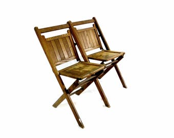 Wood Slatted Folding Chairs, Pair Vintage Wooden Chairs, Event Seating, Wedding Chairs, Porch, Camping, Patio, Glamping, Cottage Style, CH7
