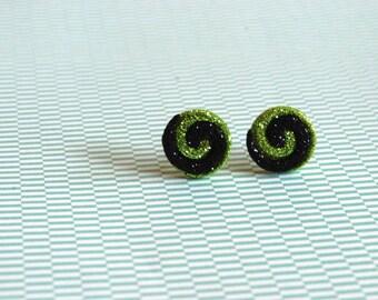 Swirly Earrings -- Black and Green Swirl Studs, Swirl Earrings, Swirl Studs