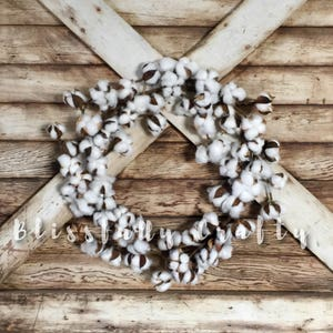 Cotton wreath, cotton ball wreath, Cotton stem wreath, wreath, cotton ball wreath, farmhouse wreath, floral wreath, cotton