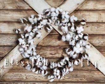 Cotton wreath, cotton ball wreath, Cotton stem wreath, wreath, cotton ball wreath, farmhouse wreath, floral wreath, cotton