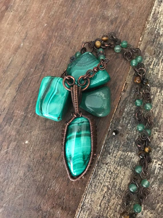 Malachite, Jade and Tigers Eye Handcrafted Necklace. A Transformation and  Protection piece.
