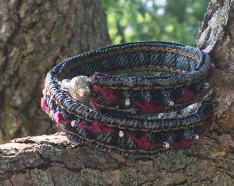 Re-Purposed Denim Hand-Embroidered Bracelet ~ Burgundy & Silver
