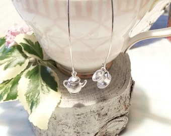 Teacup and teapot earrings, silver plated , Alice in Wonderland