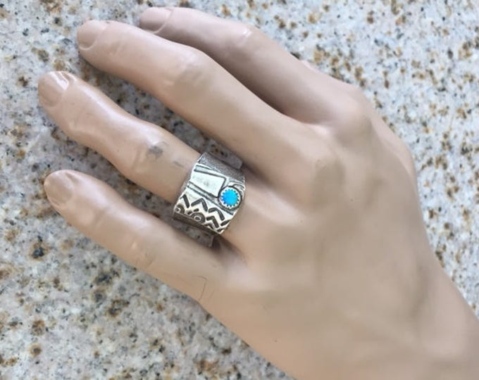 Fine and Sterling Silver Handcrafted Textured Unique Unusual Abstract Men's Ring Band with Peacock Opal Size 12