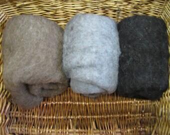 Ewespinningmeayarn Shetland cardée laine Batts Pack couleurs naturelles 150g/5,29 oz humide/aiguille feutrage/Core laine/Spinning SB15