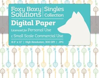 Instant Download Green & Blue Vintage Skeleton Key Digital Paper for Scrapbooking - Digital Download Supply - Printables - Scrapbook Paper