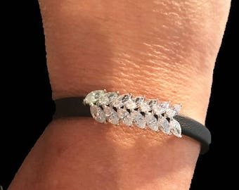 Stunning Crystal Art Deco Leaf Adjustable Black Leather Bracelet( One size fits Small - Large)