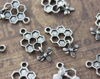 10 Bee and Honeycomb Charms Antiqued Silver Tone 13 x 20mm
