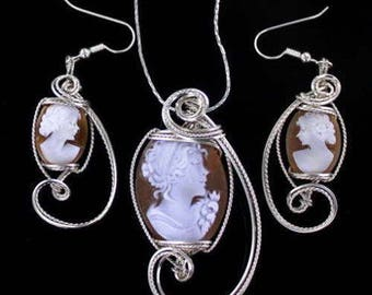 Vintage Shell Cameo Pendant and Earrings Set in Sterling Silver Wire Wrapped with Chain