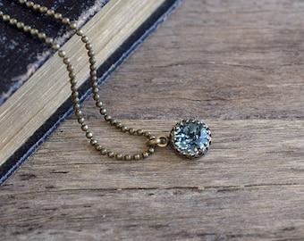 Grayish blue Swarovski crystal necklace, Indian sapphire Swarovski necklace, Bridesmaid gift, Antique brass necklace, Swarovski jewelry