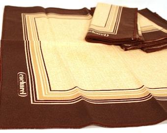 Vintage beige and brown Cacharel napkins (set of 5)