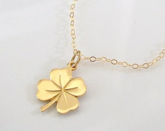 Four Leaf Clover Necklace, 14K SOLID GOLD Lucky Charm - Sarah Jessica Parker, Sex And The City Necklace