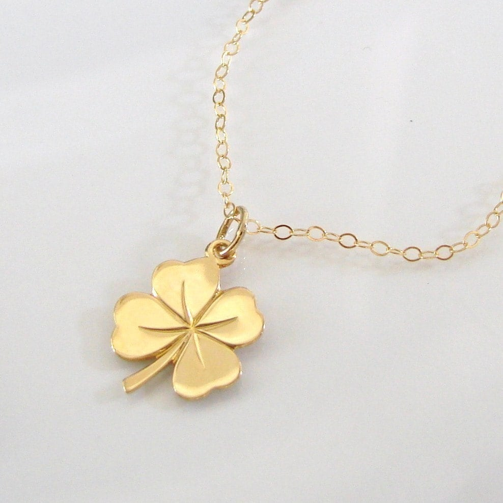 jewellery silver neckwear small diamond necklace sterling leaf four childs pendant image clover