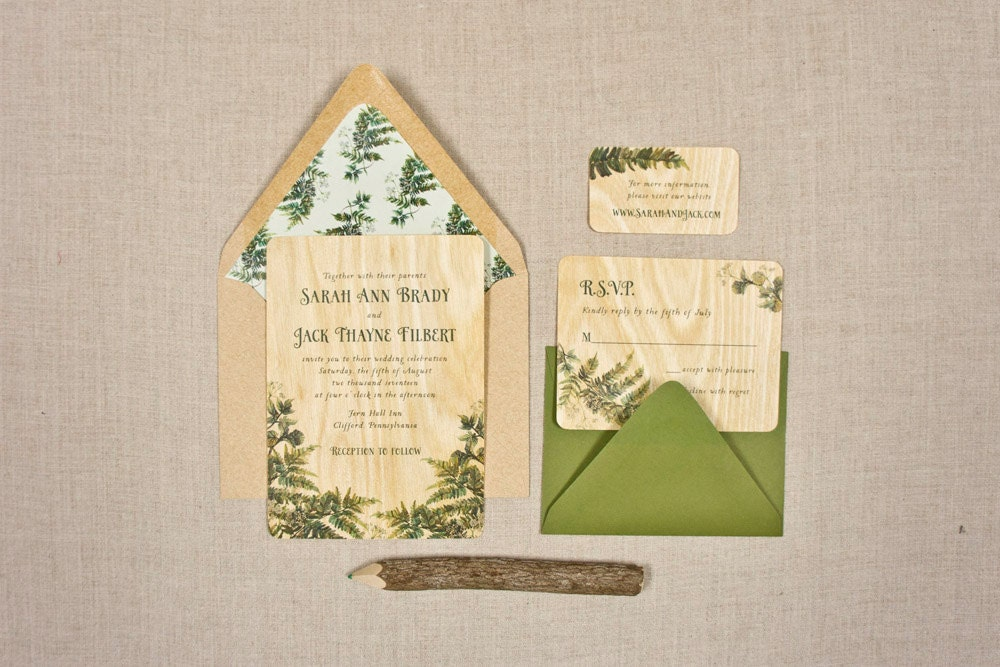 Real Wood Wedding Invitations: Real Wood Wedding Invitations Fern Flourish