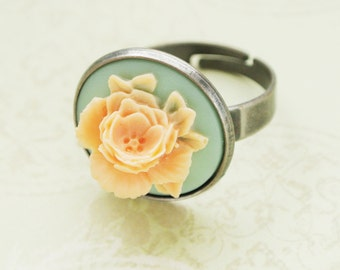 Peach Flower Ring ,Rose Cabochon Ring, Adjustable Filigree Ring,Girls Jewelry, Rose Ring, Floral Ring, Resin Ring,Gift for Her,Cocktail Ring