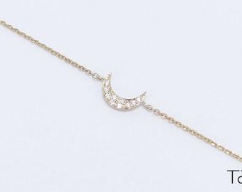 Diamond Moon Bracelet, Gold Bracelet, Chain Diamond Bracelet, Classy Jewelry, Fine Jewelry, Anniverary Gift, White Stones Bracelet