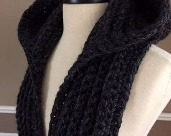 Ultra Plush Nordic Hooded Scarves, Color shown Charcoal Grey, ready to ship!