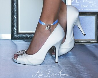 "Something Blue ""I Do"" Ribbon Wedding Anklet for Bride"