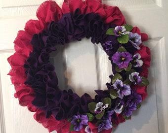 Pink and Purple Burlap Ruffle Wreath