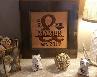 Mr. & Mrs. Name 15 x 15- Wood Burning Sign