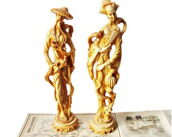 Pair Vintage Resin Asian Figurines/ Italian Made Resin Sculpture of Asian Couple/ Artificial Ivory Reproduction