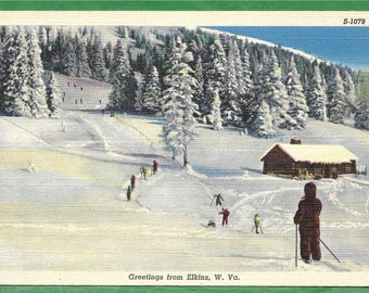 Vintage Linen Postcard - Skiiers on One of the Snow Covered Mountain Trails in Elkins, West Virginia  (3162)