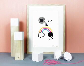 The Weather Man | Linolschnitt, Linoldruck, Linoleum, Grafik, Druck, Print, Kunstdruck, Regenbogen, Neon, Wetter, Gesicht,Sonne, Wolken, A4