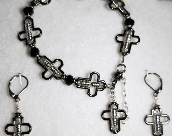 Black and Silver Cross Bracelet with Matching Earrings