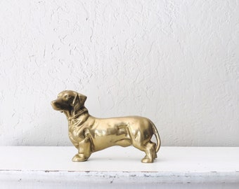 Vintage Brass Dachshund Bank // Large Doorstop