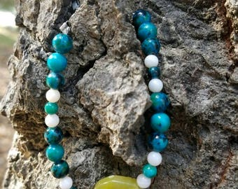 Cool Colors Only Beaded Bracelet, Green Beaded Bracelet, Cool Colored Bracelet