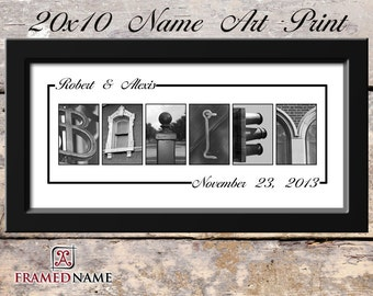 20x10 Alphabet Letter Art Great For Weddings Or Anniversarys - Alphabet Art - White Style 2 - WITH FRAME