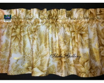 Christmas Curtain Golden Poinsettia Short Curtain Little Curtain Holiday Decor Short Valance Kitchen Curtain Gold and White Free Shipping