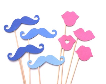 Baby Shower - Gender Reveal Party - Photo Booth Props - Pink and Blue Photo Props - Lips and Mustaches on a Stick