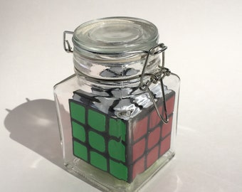 Impossible Bottle - Rubik's Cube in Hinged Glass Jar