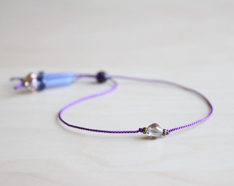 Dainty summer bracelet / purple blue silk thread bracelet / friendship bracelet / dainty jewelry