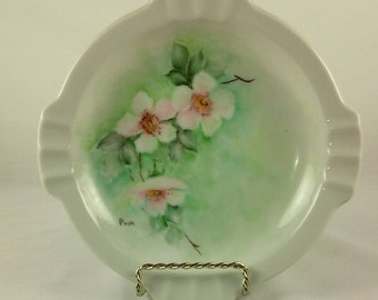 Ashtray, Porcelain Ashtray, Pink Green Floral on White, 8 Slots, Round Shape, Vintage 1980's, Shabby Chic