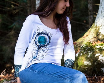 Hand-painted feather knit, white knit with fabric applied on sleeves and back