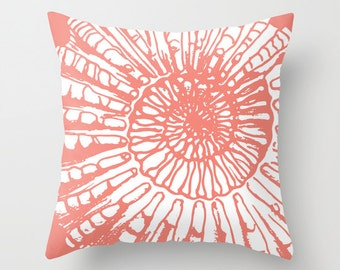 Nautilus Pillow with insert - Fossil Sea Life Fossil Print - Coral - Nautical Home Decor - Beach House -