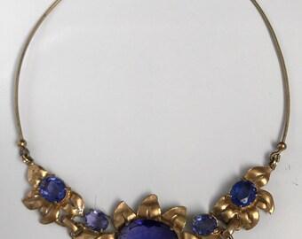 Vintage Blueish Purple Gold Tone Unique Flowered CHOCKER Necklace