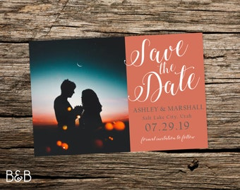 Custom Color Block Photo Save the Date Postcard