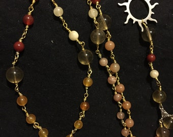 Sun Prayer Beads Fire-Colored Gemstones Steel Pendant