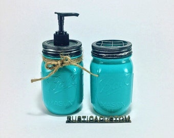 Glossy Mason Jar Soap Dispenser and Toothbrush Holder ~ Typhoon High Gloss