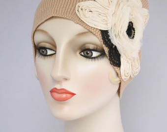 Caramel Beanie Skull Cap, Merino Wool And Cashmere Knit Hat, Camel Beige With Ivory Flower Applique